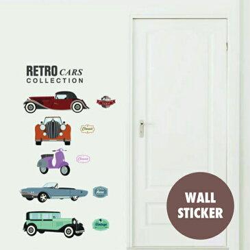 ウォールステッカー/クラシックカー・車☆自動車 オールド アンティーク ベスパ バイク シール 壁紙 ポスター