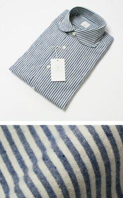 【SALE30】新作 MOSCA / モスカ / スリムフィット / フランネル ストライプ柄 変形ラウンドカラー コットンシャツ【ブルー】【送料無料】