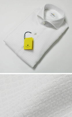 新作 GIANNETTO( ジャンネット )/ カッタウェイ 変わりワッフル織 コットンシャツ【ホワイト...
