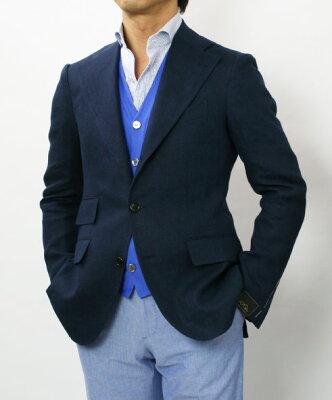 春夏アウトレット G.Pasini ( ガブリエレ パジーニ ) / リネン 3B段返り シングルジャケット 【ネイビー】【SALE価格】【送料無料】