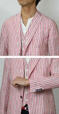 S/S新作MarioMuscariello/マリオムスカリエッロ/ST.TROPEZ/リネンストライプシャツジャケット【サックス/レッド】【送料無料】