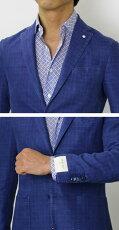 S/S新作L.B.M.1911(エルビーエム1911)/JACKSLIM(ジャックスリム)/コットンリネンチェック柄2B2パッチジャケット【ブルー/オフホワイト】【送料無料】