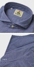 S/S新作GUYROVER(ギローバー)/コットンギンガムチェックカッタウェイシャツ【ブルー】【送料無料】