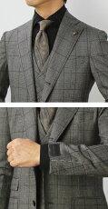 【国内正規品】F/W新作G.Pasini(ガブリエレパジーニ)/グレンチェックオーバーペン柄3B段返りスリーピースワンプリーツスーツ【ブラウン】【送料無料】