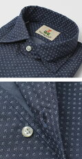 S/S新作GUYROVER(ギローバー)/コットン小紋柄プリントオープンカラーシャツ【ネイビー】【送料無料】