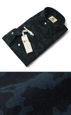 S/S新作GUYROVER(ギローバー)/コットンカモフラプリントオープンカラーシャツ【ネイビー】【送料無料】