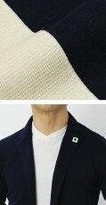 【国内正規品】S/S新作LARDINI(ラルディーニ)/コットンニットジャケット【オフホワイト/ネイビー】【送料無料】