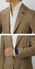 【国内正規品】S/S新作LARDINI(ラルディーニ)/EASY/サマーカシミヤ100%3釦段返りシングルジャケット【ライトブラウン】【送料無料】