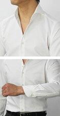 【国内正規品】新作GIANNETTO(ジャンネット)/コットンオックスメッシュセミワイドカラーシャツ【ホワイト】【送料無料】