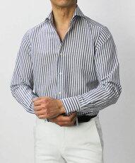 【国内正規品】新作GIANNETTO(ジャンネット)/コットンリネンロンドンストライプ柄セミワイドカラーシャツ【ネイビー】【送料無料】