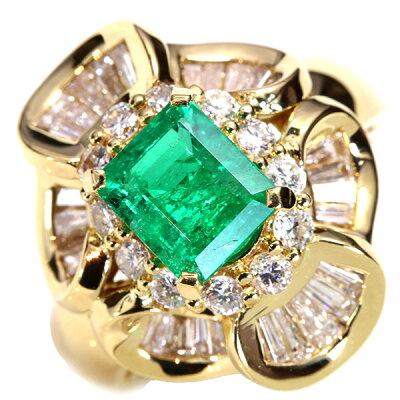 大粒で濃厚な彩エメラルド1.250カラットリングK18テーパーダイヤのオーラ/緑(グリーン)/アウトレット・新品/届10/ラックジュエルluckjewel/