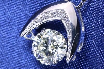 ソーティング付DancingStoneクロスフォーダイヤモンド(ダイアモンド)0.70カラットネックレスPT900/PT850シンプルさの中に揺れる大粒ダイヤ/白・透明(ホワイト)/セレクトジュエリー・新品/届10/ラックジュエルluckjewel/