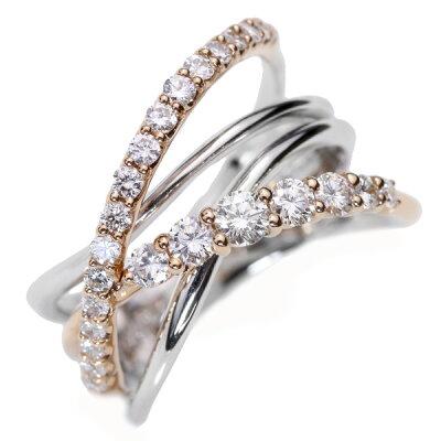ダイヤモンド(ダイアモンド)0.60カラットリング/指輪K18WG/K18美しいラインが絡みあう/白・透明(ホワイト)/受注生産品・新品/届30/ラックジュエルluckjewel/