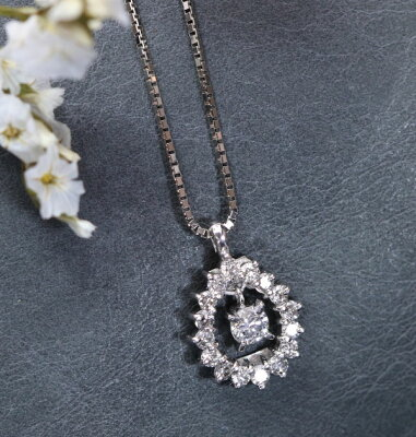 透明度高きダイヤモンド(ダイアモンド)0.10カラットネックレスPT900/PT850サークルデザイン/白・透明(ホワイト)/アウトレット・新品/届10/ラックジュエルluckjewel/