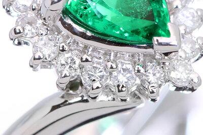 照りと高き透明度・大粒ペアシェイプエメラルド0.870カラットリング/指輪PT900ダイヤ取り巻き鑑別書付/緑(グリーン)/アウトレット・新品/届10/ラックジュエルluckjewel/