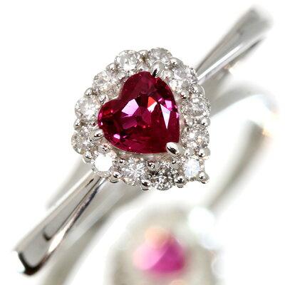 ハートシェイプルビー0.250カラットリング/指輪K18WGダイヤモンド取り巻き/赤(レッド)/アウトレット・新品/届10/ラックジュエルluckjewel/