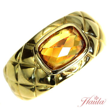 ゴールデンスフェーン 2.67ct リング/指輪 K18 虹色のファイヤ 肉厚キルティングアーム メンズにも/黄(イエロー)/セレクトジュエリー・新品/届10/