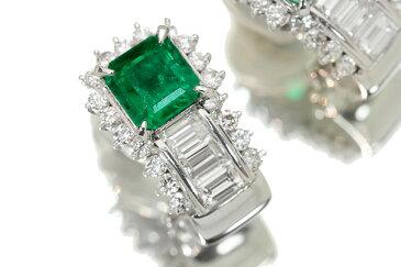 エメラルド イヤリング 1.90カラット プラチナ900 PT900 貫禄溢れる大粒 豪華ダイヤも1.25ct /緑(グリーン)/セレクトジュエリー・新品/届10/ラックジュエル luckjewel/