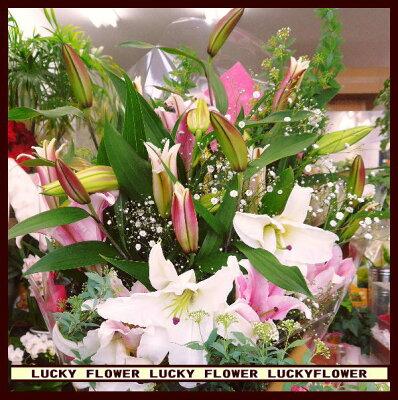 【限定】【卒業入学】【誕生日】★オリエンタル百合の花束!ピンク&ホワイト!【送料無料】