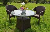 ガーデンファニチャーラタン調テーブルチェア3点セットset361