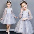 子供ドレスドレス女の子発表会チュールスカートカラードレスロングドレスワンピースノースリーブリボンドレスフラワーガールズパーティードレスお呼ばれ/ピアノ90-150CM