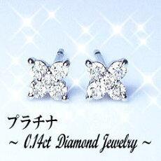 【送料無料】プラチナ×0.14ctダイヤモンドフラワーピアス