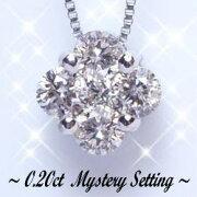 プリンセスフラワーダイヤモンドペンダントネックレス カラット ダイヤモンド ミステリー セッティング ゴールド