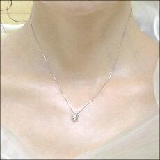 プラチナ900×ダイヤモンド0.20ct無色透明SIクラス『フラワーセブンスター』ペンダントネックレス【送料無料】