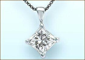 ソーティングダイヤモンド プリンセスカットダイヤモンドペンダントネックレス