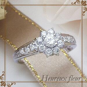 pt900 pt950 0.5ctダイヤモンドリング『Heureux fleur』0.5カラット[F〜Dカラー/無色透明/SIクラス] 美しく輝く大輪の華…【フラワー】【婚約指輪】【ミル打ち】【エンゲージ】【楽ギフ_包装】【楽ギフ_メッセ】【0824カード分割】:Luge Jewelry