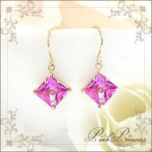 プリンセスピンクミスティックトパーズフックピアス PinkPrincess ゴールド ストーン プリンセス
