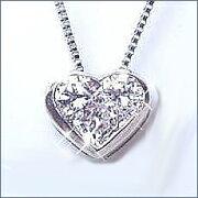 ホワイト ゴールド ダイヤモンドハートペンダントネックレス ダイヤモンド