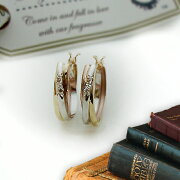 トリニティ ダイヤモンドフープピアス プラチナ イエロー ゴールド ピンクゴールドフープピアス プレゼント