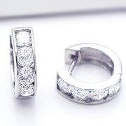 プラチナ ダイヤモンドフープピアス セッティング カラット