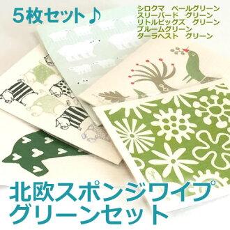 Nordic sponge wipe green set (5 piece set) (Bengt and Lotta) (cloth Tea towel, kitchen wipes) klippan ( KLIPPAN ) moving celebration Grand opening celebration wedding white 10P28oct1310P_0215