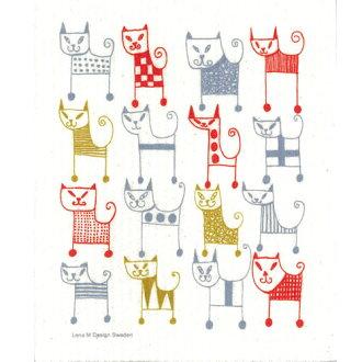 Nordic sponge wipe Lena Carlson cats (Lena M. Karlsson) Marathon10P03nov12 (cloth Tea towel, kitchen wipes) klippan ( KLIPPAN ) ( cellcross ) ( cat ) moving celebration Grand opening celebration Tea towel gift 10P28oct13 birth celebration