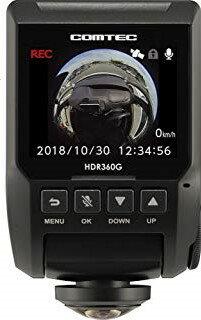 コムテック 360度全方向対応ドライブレコーダー HDR360G 340万画素 ノイズ対応 夜間画像補正 LED信号対応 専用microSD(16GB)付Gセンサー GPS 12/24V対応 3年保証 日本製 駐車監視機能付 COMTEC