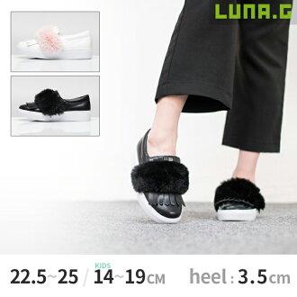 有[3.5cm厚底鞋跟(供小孩使用的1cm)]父母子女鞋毛皮的懶漢鞋女士懶漢鞋小孩運動鞋鞋小孩鞋小孩鞋平地厚底鞋底新作品Black(黑色),White(白)14cm~19cm(小孩用)/22.5cm~25.0cm
