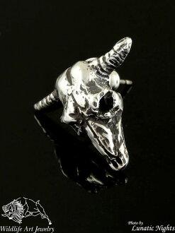 野生動物藝術銀 [buffaloscarpias] (銀飾品/銀斧頭 / 銀 / 銀 925 / Silver925 / 銀 / 會徽/皮爾斯/男子 / 婦女的/中性/骷髏/水牛城)