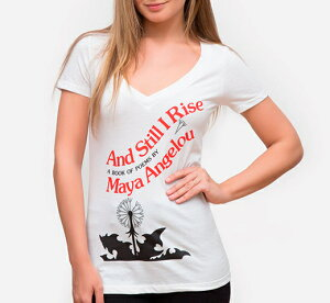 [Out of Print] Maya Angelou / And Still I Rise V-Neck Tee (White) (Womens)