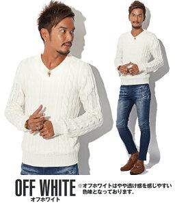 白・ホワイト・Vネック・ニット・セーター・メンズ・BITTER
