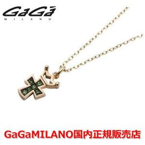 [घरेलू वास्तविक] GaG MILANO देवियों / देवियों K10 क्रॉस NECKLACE / क्रॉस हार क्रॉस / ग्रीन गार्नेट