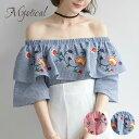 花柄刺繍オフショルチェックトップス 花柄 刺繍 リゾートファッション ...
