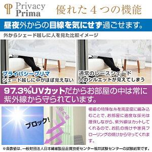 夜も目隠し!プライバシープリマサイズ:(幅)61~90×(丈)201~250cmプレーンシェードタイプウォッシャブル紫外線カットcurtain