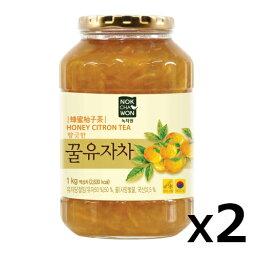 【送料無料】緑茶園 ゆず茶 1kgx2 韓国食品 韓国食材 韓国食品 蜂蜜入お茶 柚子茶 お土産 お中元 果実入お茶 飲物
