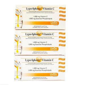 【2月1日入荷予定】3箱セット リポスフェリック ビタミンC (30包x3)LivOn社推奨 リポソーム ビタミンC サプリメント