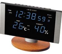 電波置き時計アデッソ製デジタルC-8305BL青LED電波時計