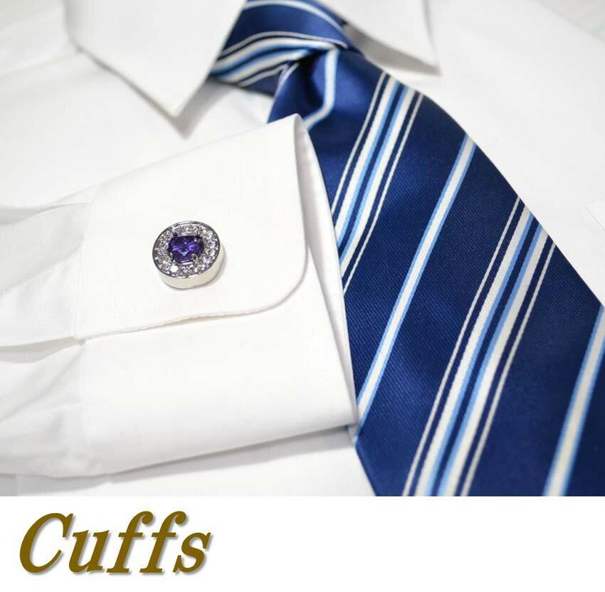 カフス カフスボタン (typeCF04) 円型 CZ シルバー カフ メンズ スーツ ドレス シャツ  ビジネス フォーマル 冠婚葬祭 アクセサリー [ac077]