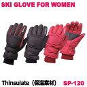スキーグローブ レディース スノーグローブ 女性用 シンサレート 防寒グローブ 防寒手袋 保温 sp-120の商品画像