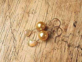 ゴールド白蝶真珠ペア
